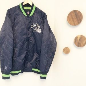 Seattle Seahawks Navy blue quilted bomber jacket